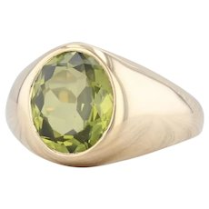 New Green Synthetic Spinel Ring 10k Yellow Gold Size 10.5 Oval Solitaire