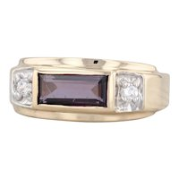 New 1.44ctw Purple Synthetic Spinel CZ Ring 10k Yellow Gold Size 10