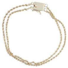 "Slide Charm Bracelet 7.5"" - 14k Yellow Gold Double Rope Chain Vintage"