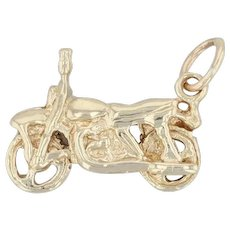 Motorcycle Charm - 14k Yellow Gold Motorbike Pendant 3D Old Style