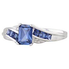 1.10ctw Synthetic Blue Sapphire Bypass Ring 10k White Gold Size 7