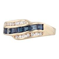 New 0.60ctw Sapphire Diamond Ring 14k Yellow Gold Size 6.25 Gemstone Band