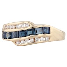 New 0.60ctw Sapphire Diamond Ring 14k Yellow Gold Size 6.25 Gemstone Band