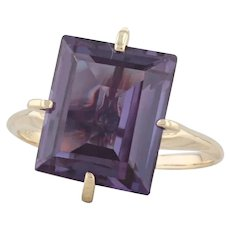 9.30ct Synthetic Color Change Sapphire Ring 14k Gold Size 8.5 Purple Solitaire