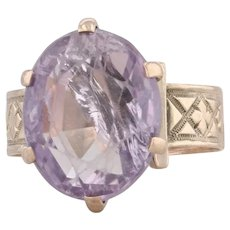 Victorian 5.40ct Amethyst Ring 8k Yellow Gold Size 4 Oval Solitaire