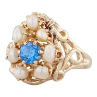 Synthetic Blue Spinel Pearl Halo Ring 14k Yellow Gold Size 6.25 Cocktail Cluster