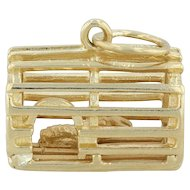 Lobster Crate Charm - 18k Yellow Gold Nautical Souvenir 3D Figural Pendant