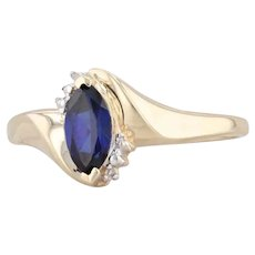 Synthetic Sapphire Diamond Ring 10k Yellow Gold Size 9.25 Marquise Solitaire