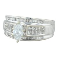 .90ctw Diamond Engagement Ring - 14k White Gold Size 7.25 .50ct Solitaire EGL