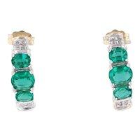 1.02ctw Synthetic Emerald Diamond J-Hook Earrings 10k Gold 3-Stone Journey