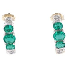 1.02ctw Synthetic Emerald Diamond J-Hook Earrings 10k Gold 3-Stone Journey