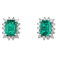 1.78ctw Synthetic Emerald Diamond Halo Stud Earrings 14k Gold May Birthstone