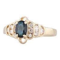New Blue Sapphire Diamond Ring 14k Yellow Gold Size 6.25 Gemstone Engagement