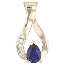 Synthetic Sapphire Diamond Teardrop Pendant 14k Yellow Gold Pear Solitaire
