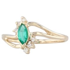 Synthetic Emerald Diamond Bypass Ring 10k Yellow Gold Size 6.75 Marquise