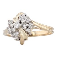 0.24ctw Diamond Cluster Ring 14k Yellow Gold Size 6.75 Bypass