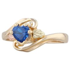 Blue Synthetic Spinel Heart Ring 10k Landstroms Black Hills Gold Size 6.75