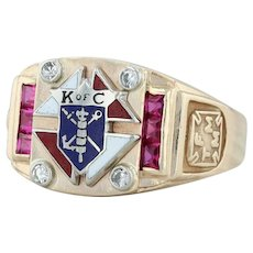Knights of Columbus Crest Ring - Synthetic Ruby Diamonds 10k Gold Size 13 K of C