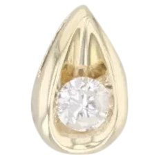 0.24ct Diamond Teardrop Pendant 10k Yellow Gold Floating Round Solitaire