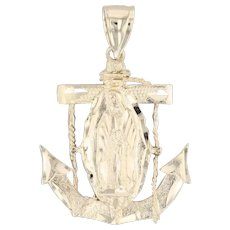 Virgin Mother Mary Anchor Pendant 14k Yellow Gold Religious Jewelry