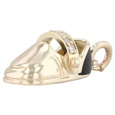 Diamond Baby Shoe Pendant 14k Yellow Gold Resin Charm Keepsake