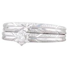 Soldered Bridal Set 14k White Gold Size 6 Diamond Engagement Ring Wedding Band