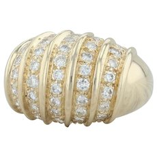 .94ctw Diamond Cocktail Dome Ring - 14k Yellow Gold Size 6.25 Banded Stripe Bold