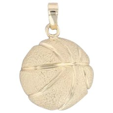 Basketball Pendant 14k Yellow Gold Sports Themed Jewelry