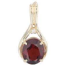 4.85ct Garnet Enhancer Pendant 14k Yellow Gold Oval Solitaire Diamond Accent