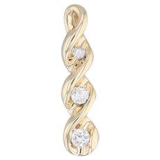 0.23ctw Diamond 3-Stone Journey Pendant 14k Yellow Gold Past Present Perfect
