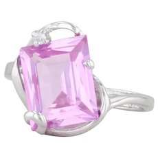 Synthetic Pink Sapphire Ring 10k White Gold Size 5.75 Bypass Band