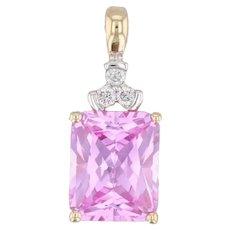 4.62ctw Synthetic Pink Sapphire Diamond Pendant 10k Gold Drop