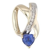 0.90ctw Synthetic Blue Sapphire Heart Diamond Slide Pendant 10k Yellow Gold