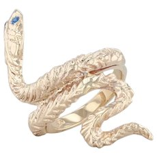Synthetic Spinel Snake Ring 14k Yellow Gold Size 6 Serpent Statement