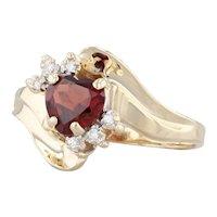 1.03ctw Garnet Heart Diamond Ring 14k Yellow Gold Size 6.25 Bypass
