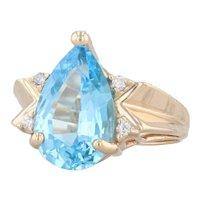 4.91ctw Blue Topaz Teardrop Diamond Ring 14k Yellow Gold Size 6 Pear Solitaire
