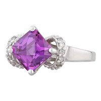 2.19ctw Pink Purple Synthetic Sapphire Diamond Ring 10k White Gold Size 7