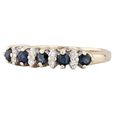 0.35ctw Blue Sapphire White Diamond Ring 14k Yellow Gold Size 5 Stackable Band
