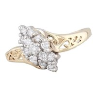 0.20ctw Diamond Cluster Bypass Ring 14k Yellow Gold Size 6.75 Openwork