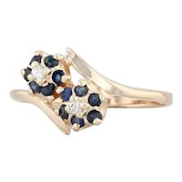 Sapphire Diamond Flower Bypass Ring 14k Yellow Gold Size 6.25 Floral