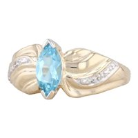 0.70ctw Blue Topaz Diamond Ring 10k Yellow Gold Size 6.5 Marquise Engagement