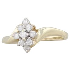0.16ctw Diamond Cluster Ring 10k Yellow Gold Engagement Size 6.5