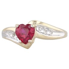 Synthetic Ruby Heart Diamond Bypass Ring 10k Yellow Gold Size 7.25