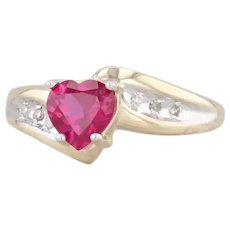0.73ctw Synthetic Ruby Heart Diamond Bypass Ring 10k Yellow Gold Size 5.75