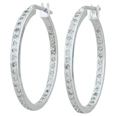.70ctw Inside Out Diamond Hoop Earrings - 14k White Gold Pierced Snap Bar 30.3mm