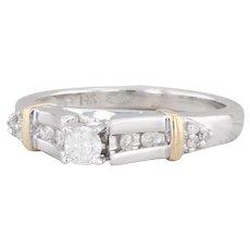 0.29ctw Diamond Engagement Ring 14k White Yellow Gold Size 7 Round Brilliant