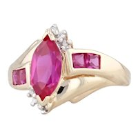 1.94ctw Synthetic Ruby Diamond Ring 10k Yellow Gold Size 6.5 Marquise Bypass