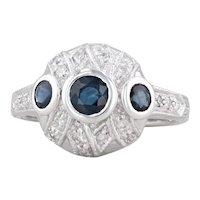 1.15ctw Vintage Blue Sapphire Diamond Ring 18k White Gold Size 6.25 Engagement