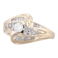 0.35ctw Diamond Bypass Engagement Ring 10k Yellow Gold Size 6.5