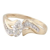 Diamond Engagement Ring 10k Yellow White Gold Size 7.25 Bypass